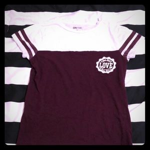 Maroon Striped Sleeve T-Shirt